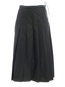 Moncler - Pleated midi skirt in green featuring drawstring