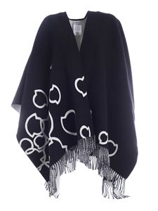 Moncler - Cape featuring black and white fringes