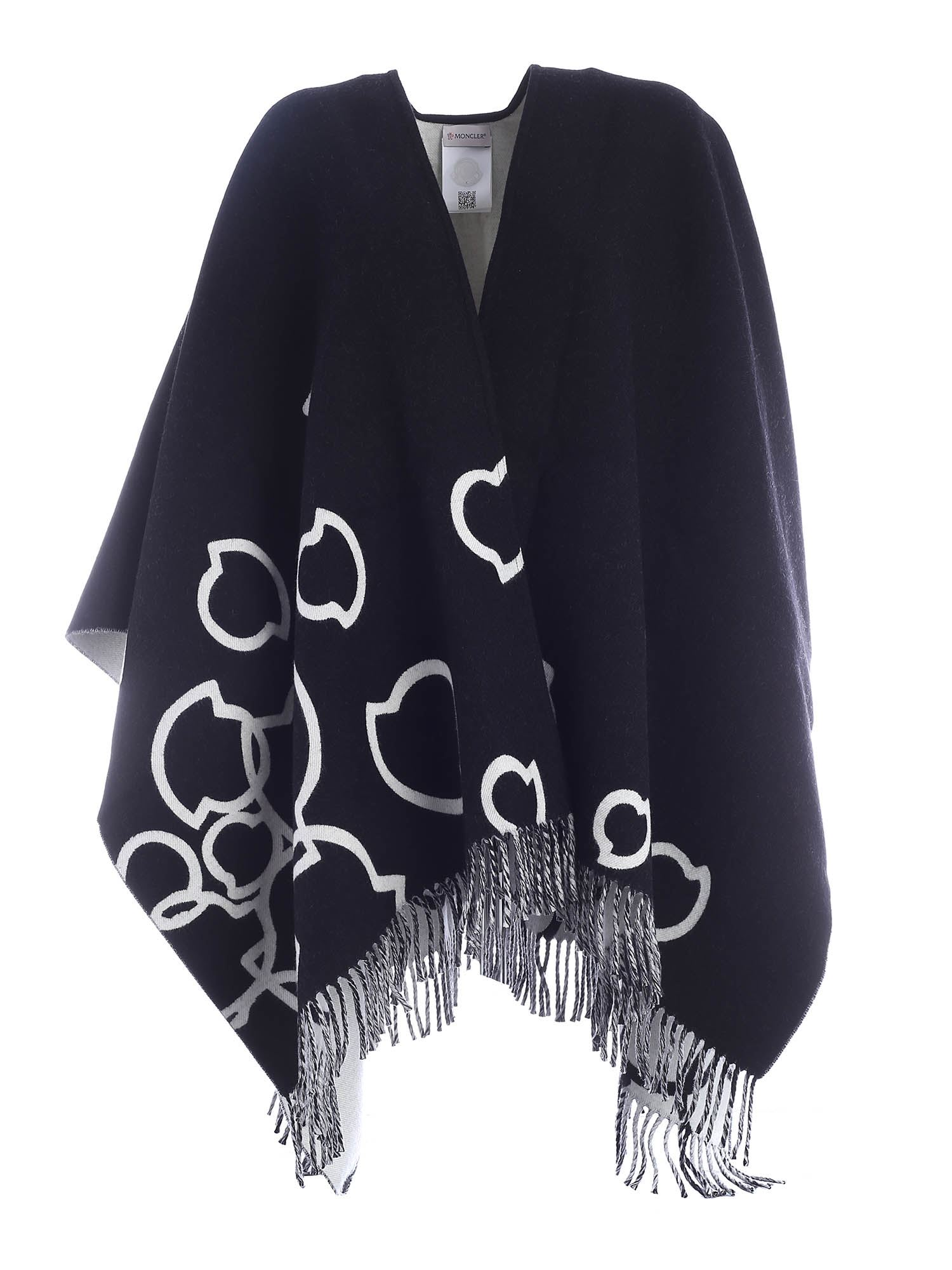 Moncler CAPE FEATURING BLACK AND WHITE FRINGES