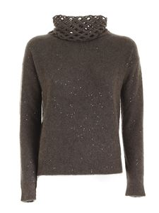 Fabiana Filippi - Openwork detail turtleneck in brown