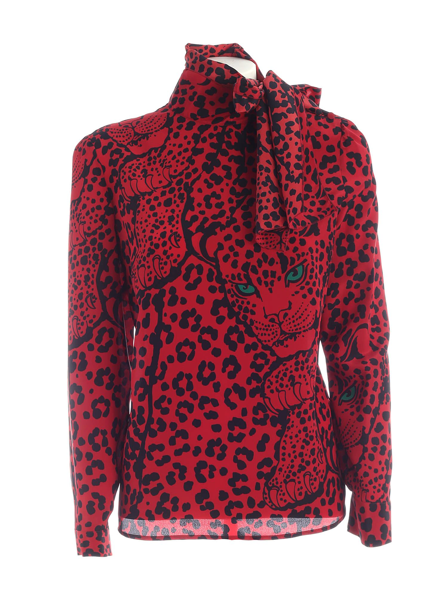 Red Valentino LEO PANTHER PRINT SILK SHIRT IN RED