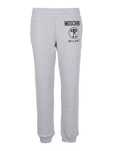 Moschino - Logo print cotton track pants in grey