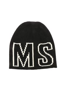 MSGM Kids - Logo inlay beanie in black