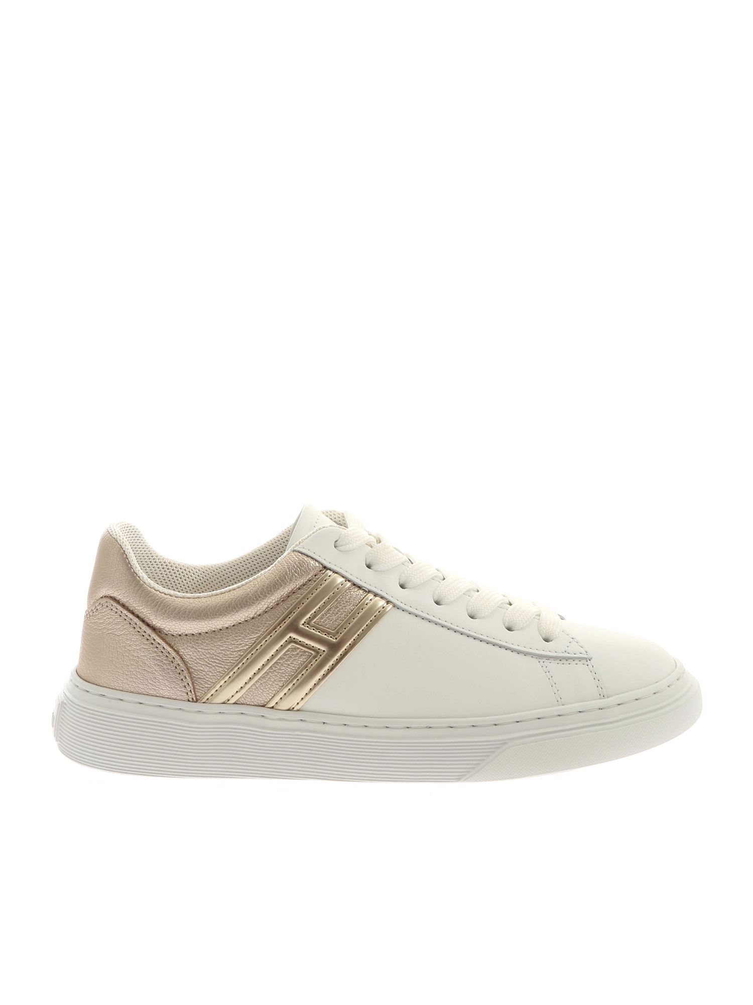 Shop Hogan H365 Sneakers In White And Platinum Color