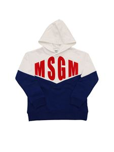 MSGM - Red logo sweatshirt in white and blue