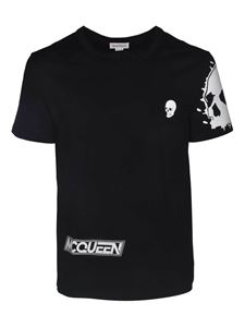 Alexander McQueen - T-shirt in black with maxi print