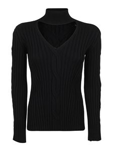 Alexander McQueen - Cut out detailed wool blend turtleneck