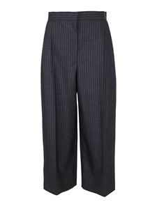 Alexander McQueen - Striped cropped culottes in grey