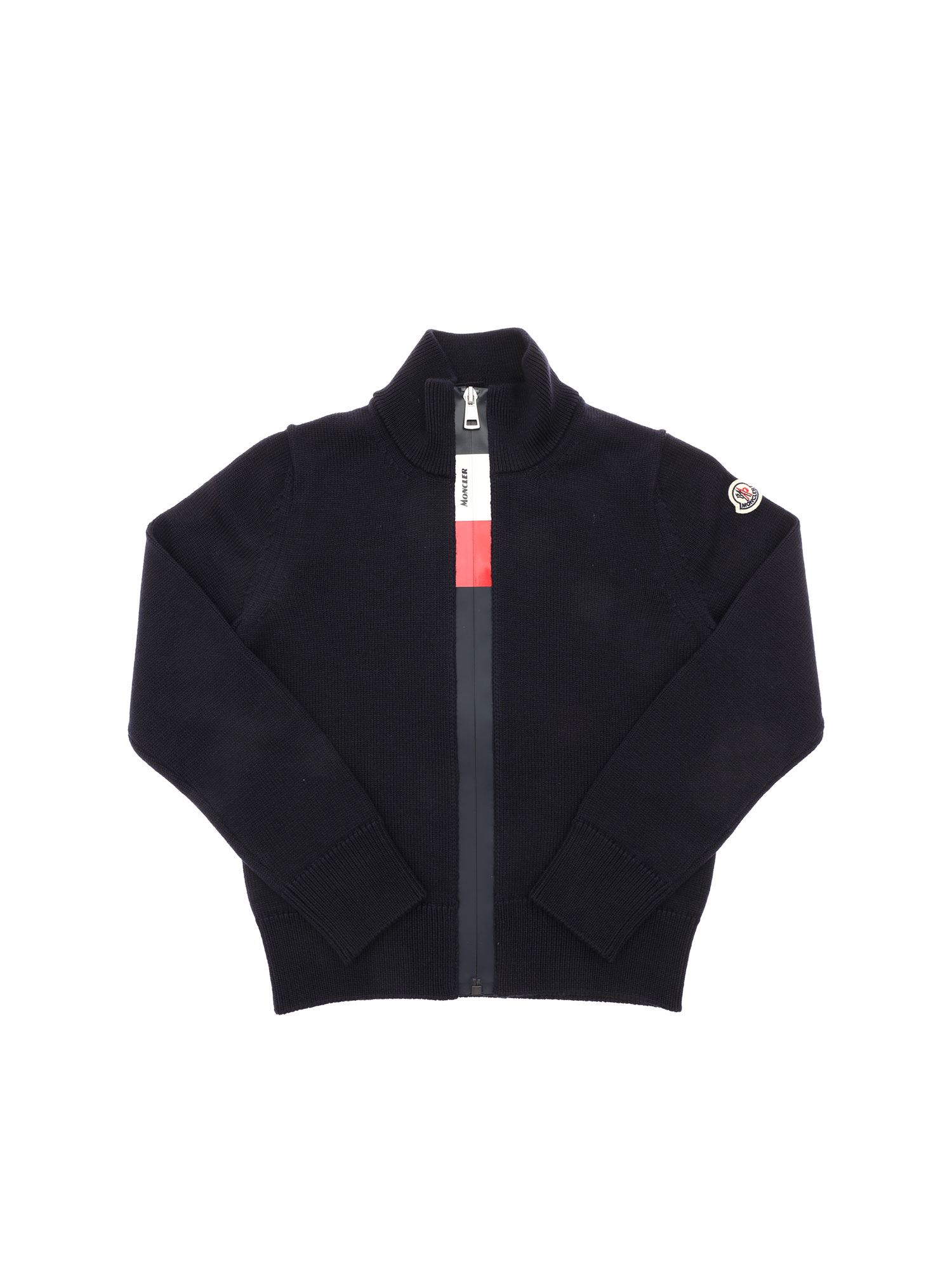 Moncler Jr Cardigans LOGO PATCH CARDIGAN IN BLUE
