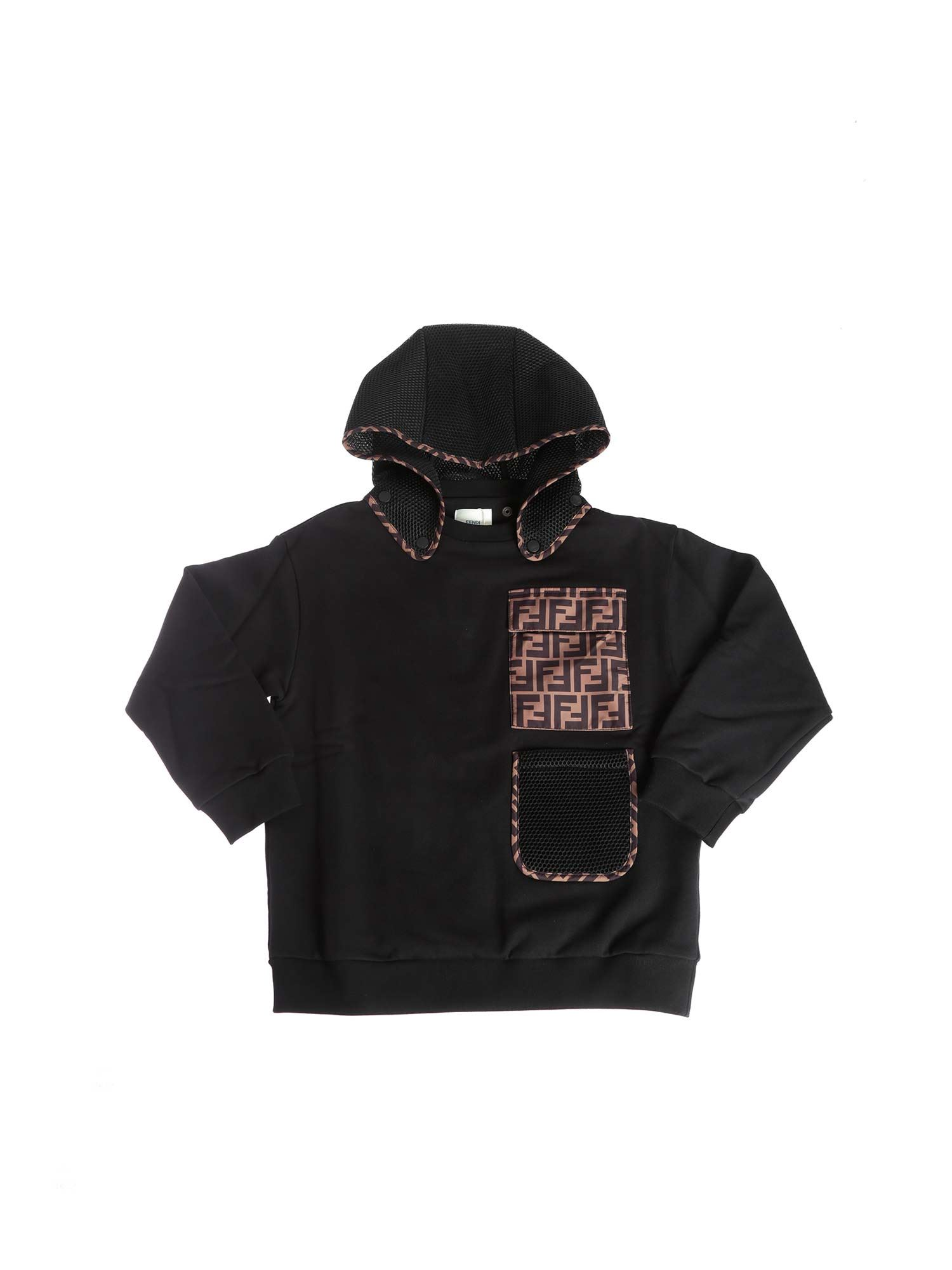 Fendi Jr Cottons BLACK SWEATSHIRT WITH REMOVABLE HOOD