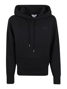 Kenzo - Logo embroidery cotton hoodie in black