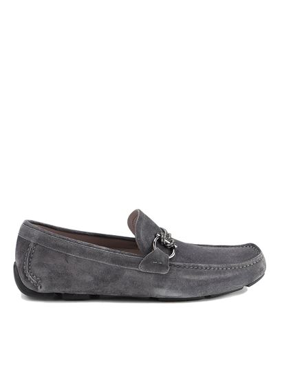 Salvatore Ferragamo - Suede driver loafers in grey