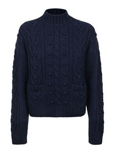 Philosophy di Lorenzo Serafini - Cable turtleneck sweater in blue