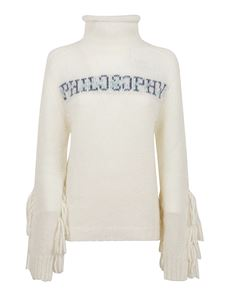Philosophy di Lorenzo Serafini - Fringes and logo lettering sweater in white