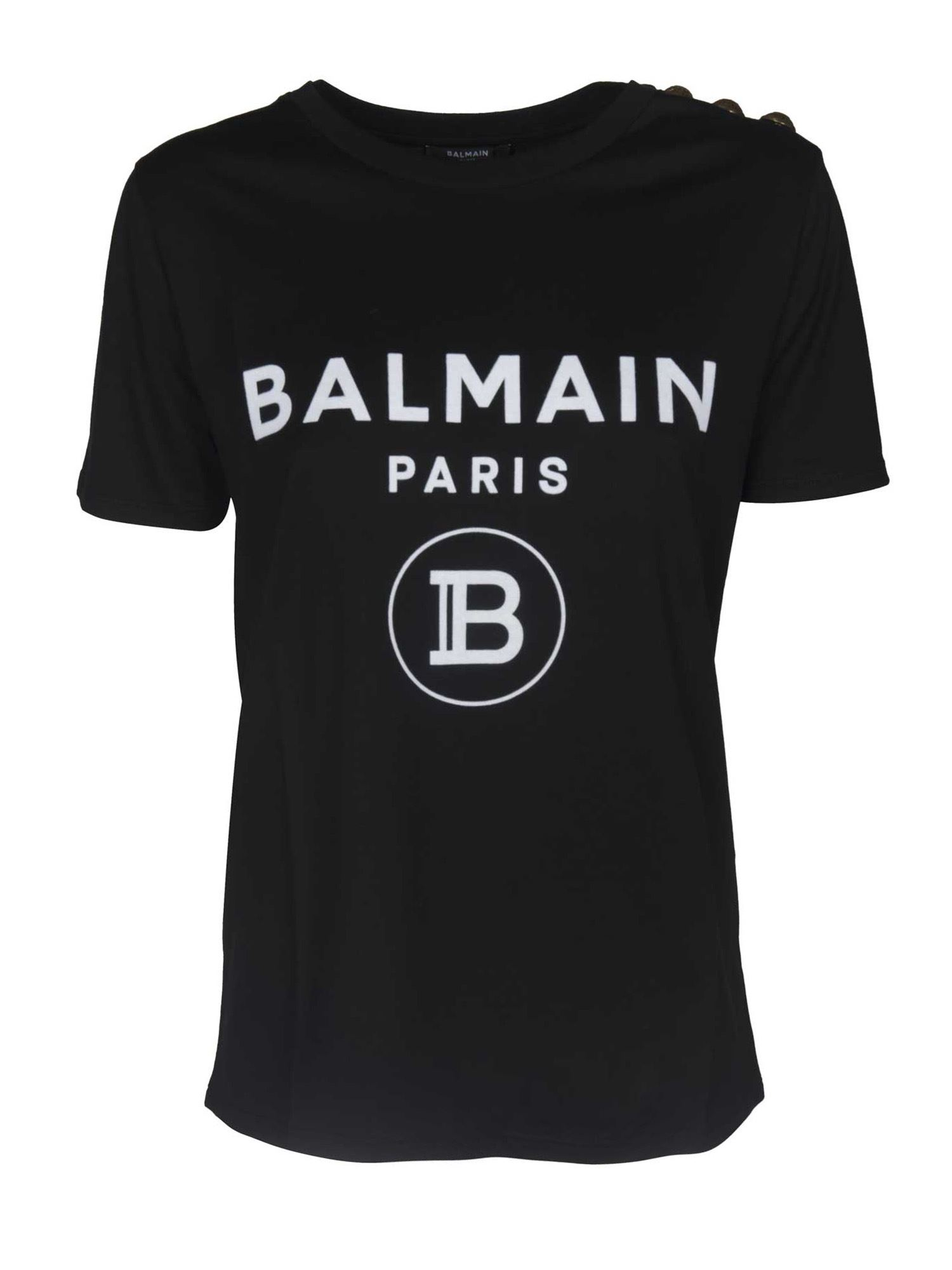 Balmain T-SHIRT IN BLACK WITH FLOCK LOGO PRINT