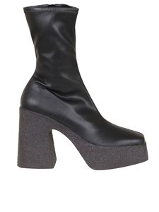 Stella McCartney - Faux leather platform ankle boots in black