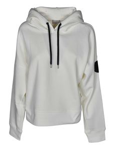 Moncler - Hoodie in white with logo patch