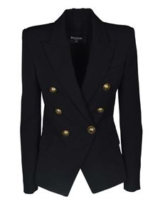 Balmain - Double-breasted jacket in black with embossed buttons
