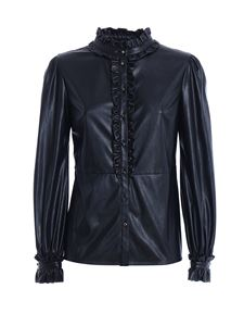 Pinko - Bruno leather effect shirt in black