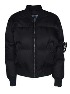 Prada - Down jacket in black with strap on the sleeve