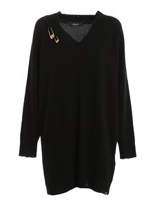 Versace - Sweater style cashmere blend dress in black