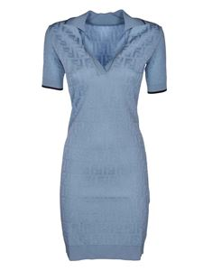 Fendi - Dress featuring FF pattern in pale blue