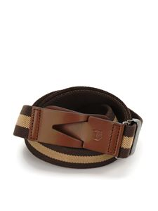 Tod's - Canvas and leather Greca belt in brown