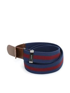 Tod's - Canvas and leather belt in blue and red