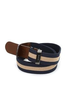 Tod's - Canvas and leather belt in beige and blue
