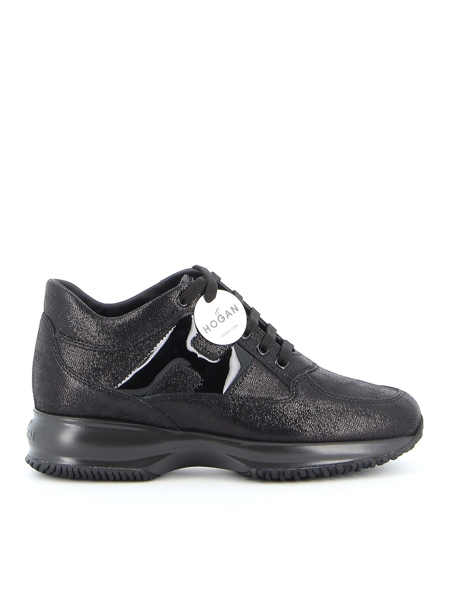 Hogan INTERACTIVE LAMINATED LEATHER SNEAKERS IN BLACK