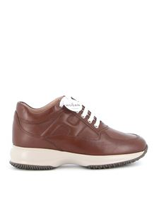 Hogan - Interactive leather sneakers in brown
