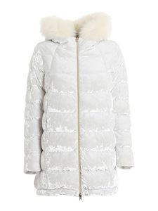 Herno - Chenille quilted padded jacket in white