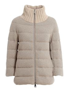 Herno - High collar cropped down jacket in beige