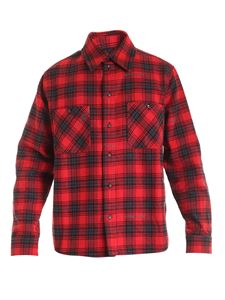 Off-White - Stencil check pattern shirt in red and black