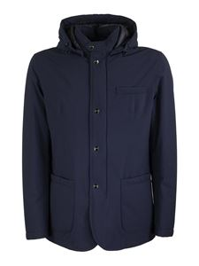 Herno - Blue jacket featuring hood and patch pockets