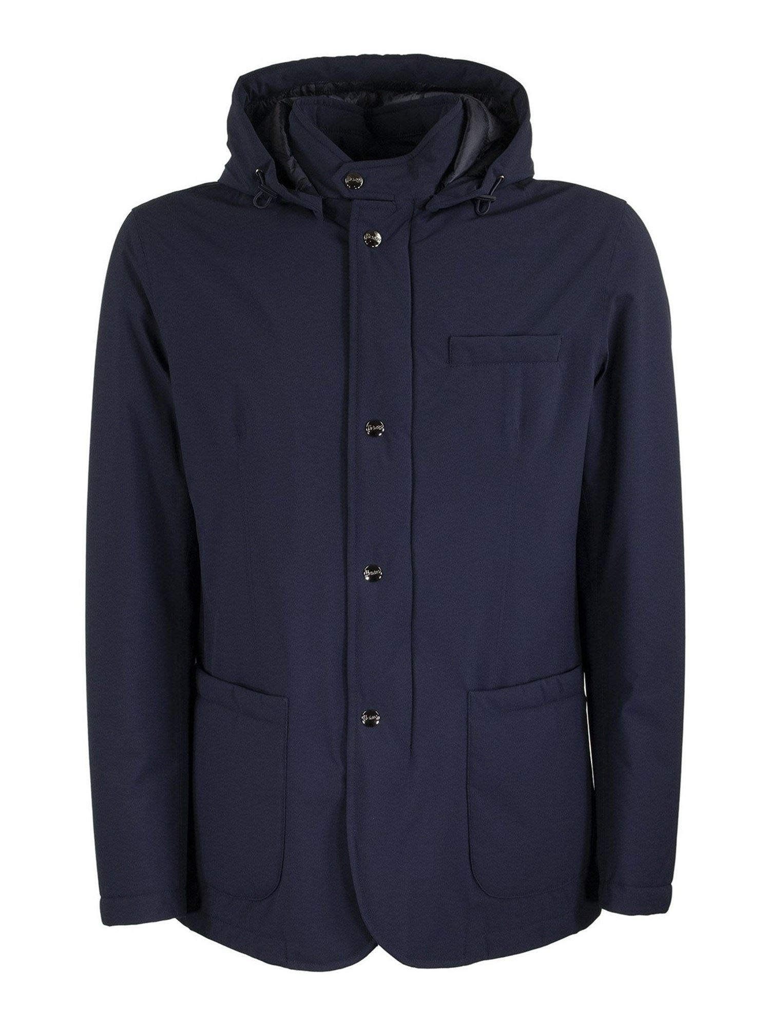 Herno BLUE JACKET FEATURING HOOD AND PATCH POCKETS