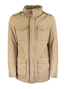Herno - Cotton parka in beige featuring hood