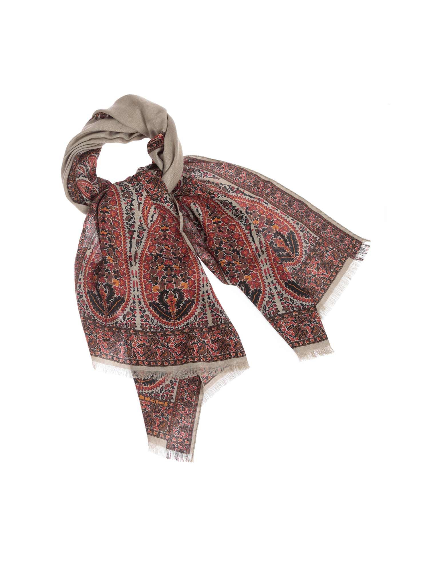 Etro DELHY SCARF IN RED AND GRAY