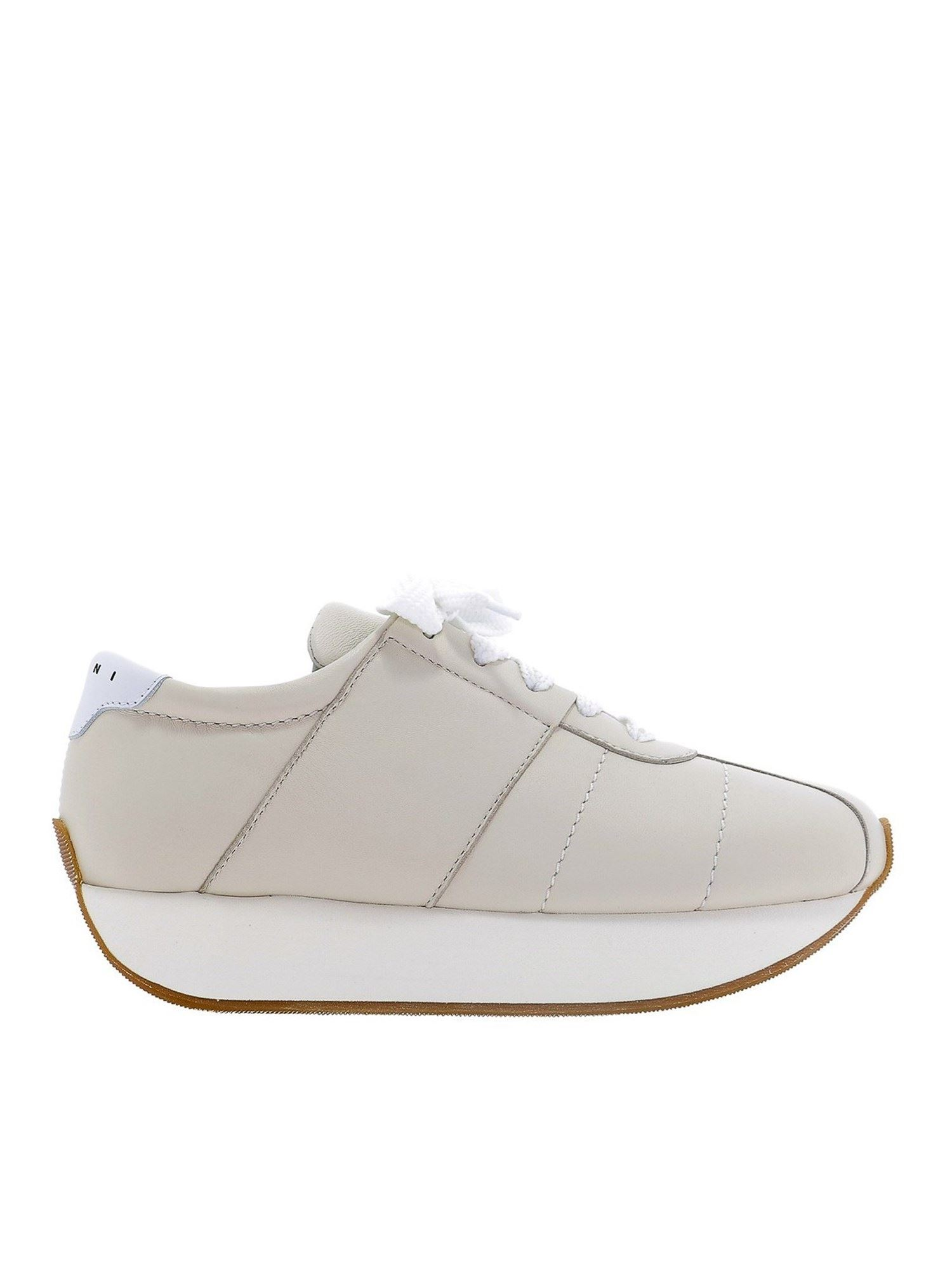 Marni Leathers BIG FOOT SNEAKERS IN BEIGE