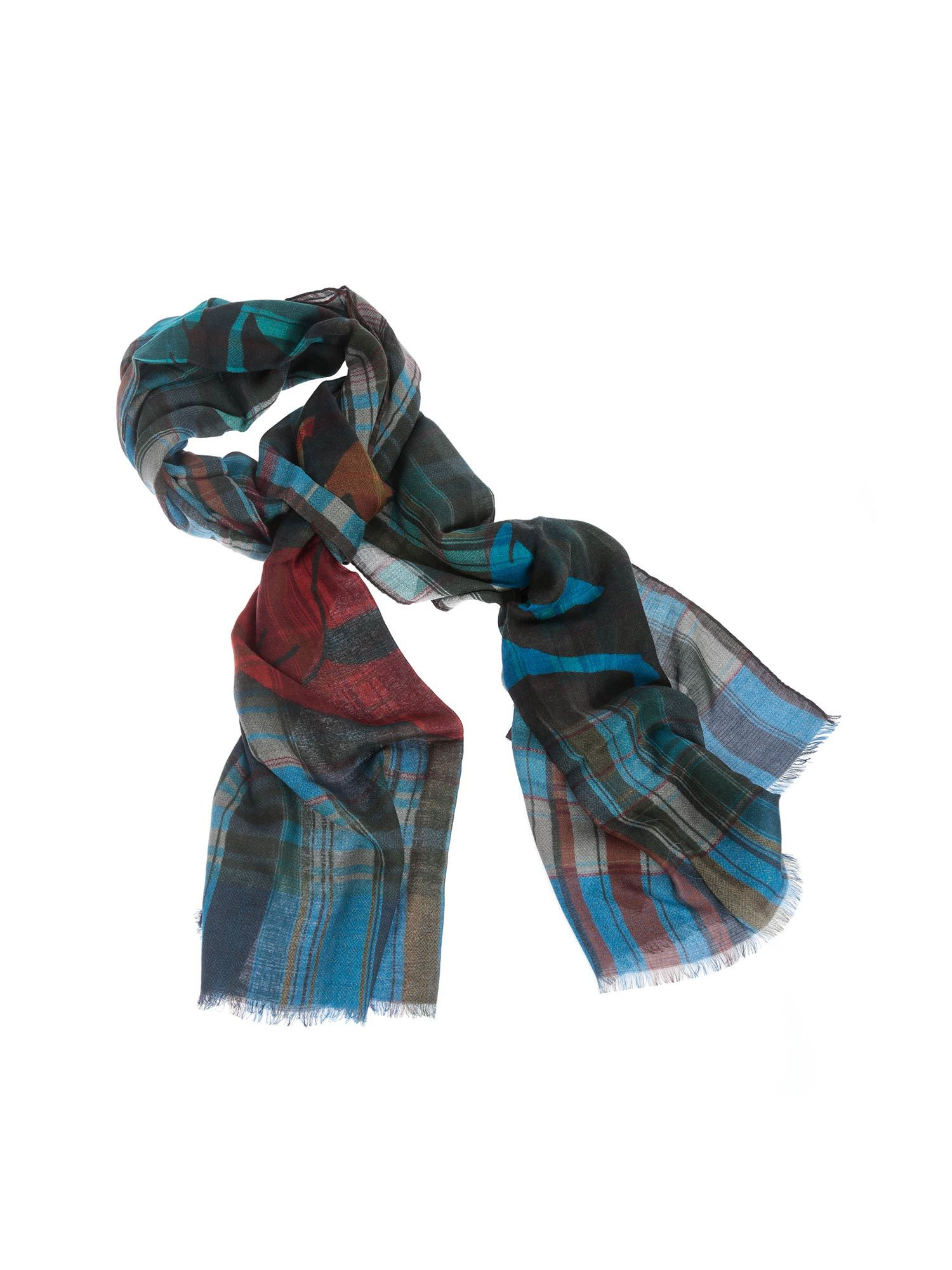 Etro SHAAL CHECKED SCARF IN BLUE