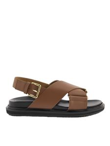 Marni - Leather fussbett sandals in brown