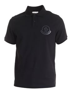 Moncler - Polo shirt with tone-on-tone logo in black