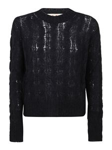 Marni - Cable knit alpaca blend pullover in black