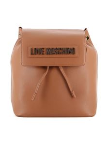 Love Moschino - Logo plaque backpack in tan color