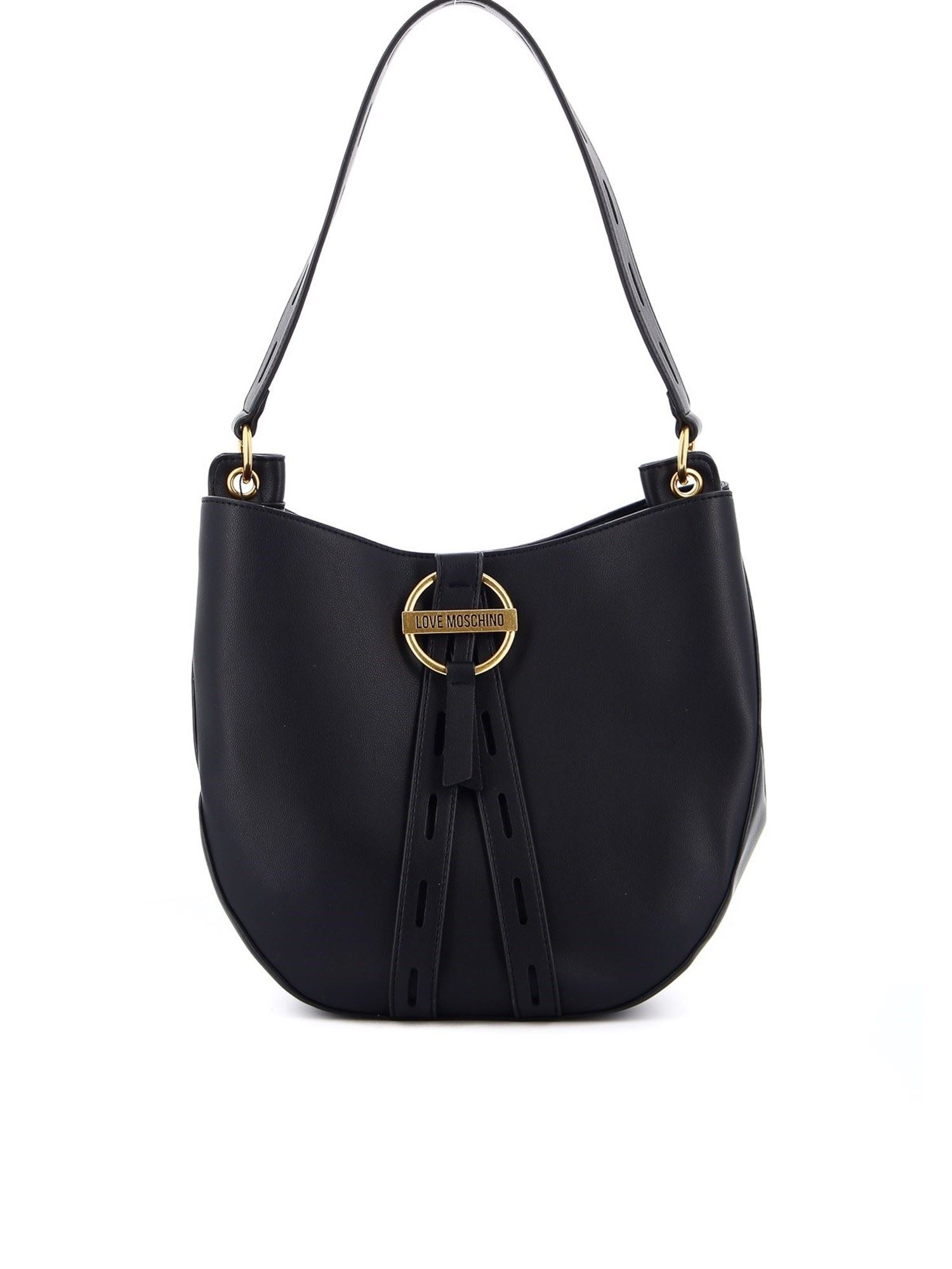 Love Moschino HOBO BAG IN BLACK WITH GOLDEN LOGO