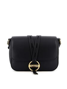 Love Moschino - Metal buckled leather bag in black