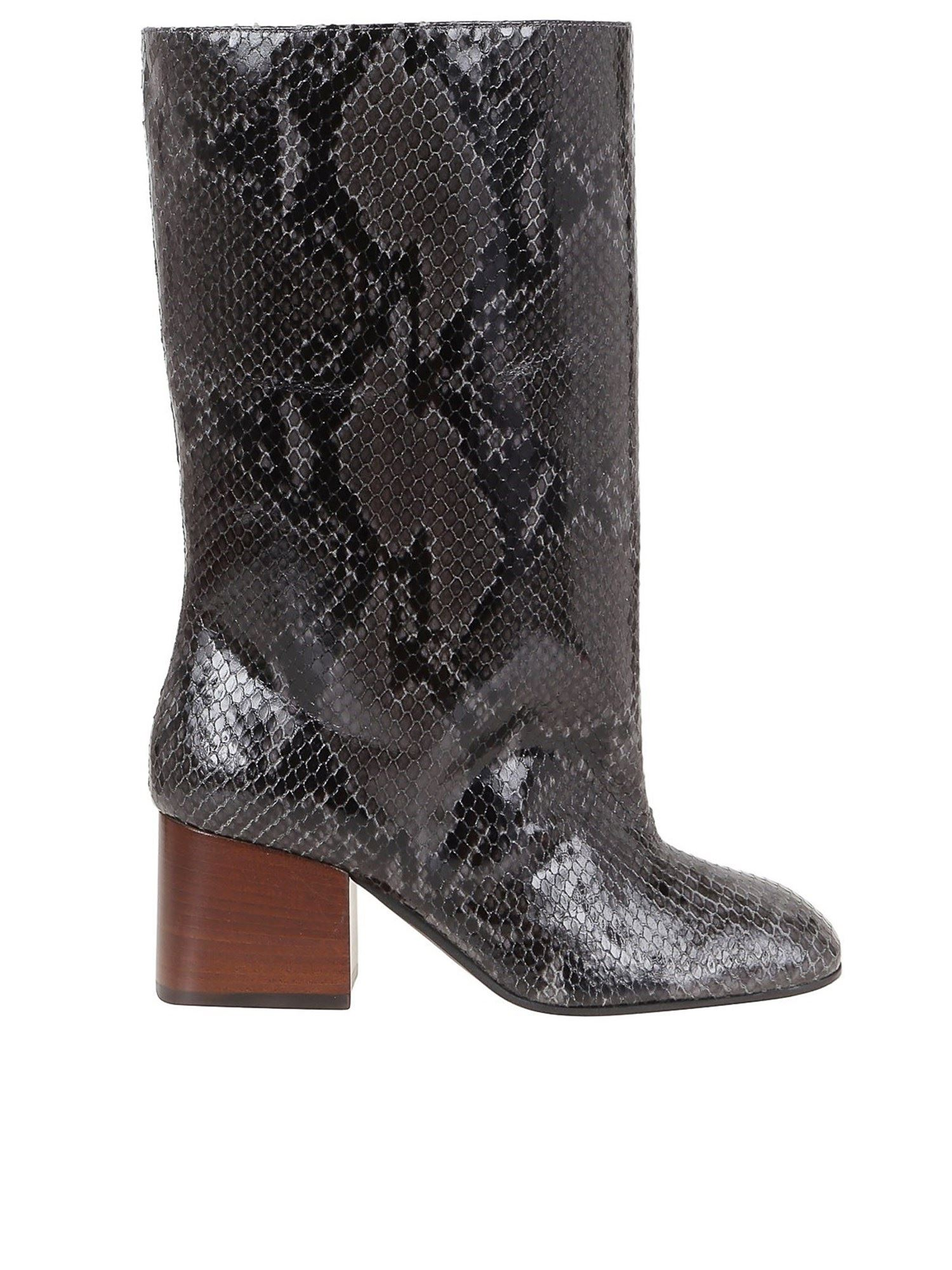 MARNI REPTILE PRINT LEATHER BOOTS IN GREY