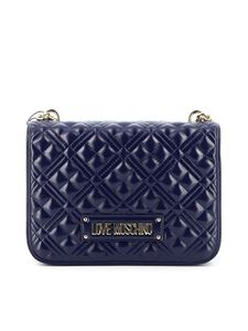 Love Moschino - Quilted flap bag in blue