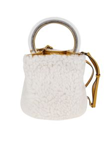 Marni - Pannier shearling bag in white