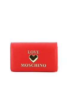 Love Moschino - Metal logo lettering bag in red
